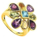 Bague Or Jaune Pierres Fines Vari�es.
